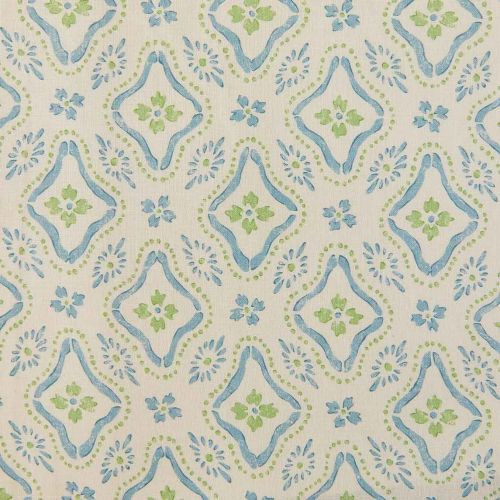 Polonaise Linen Fabric Blue Green Floral Printed