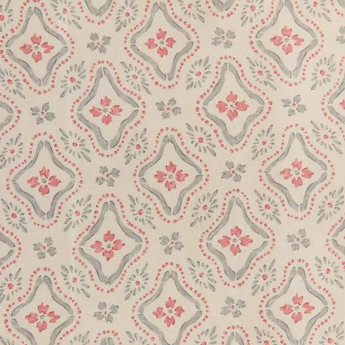 Polonaise Linen Fabric Grey Pink Floral Printed
