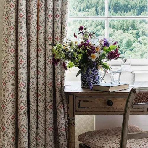 Polonaise Pink and Grey Printed Linen Curtains