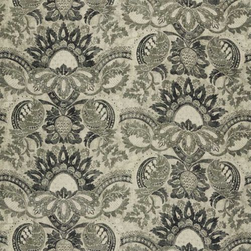 Pomegranate Print Black and White Damask Fabric