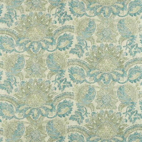 Pomegranate Print Green Damask Fabric