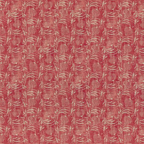 Pomegranate Red Printed Neutral Fabric