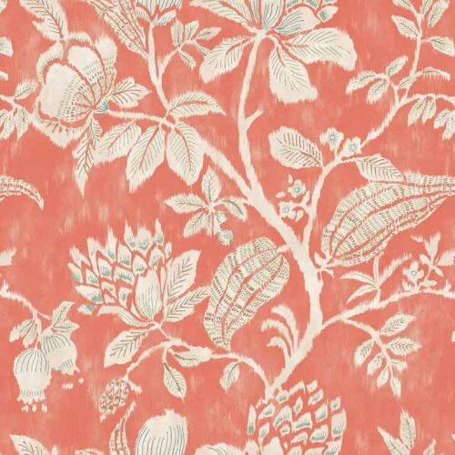 Pondicherry Cotton Fabric Coral Red Floral Printed