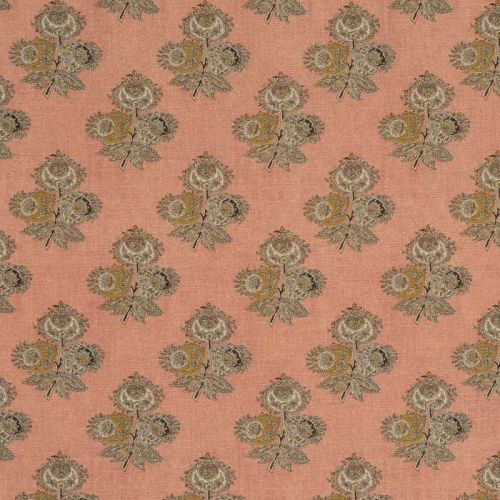 Poppy Pink and Yellow Paisley Fabric