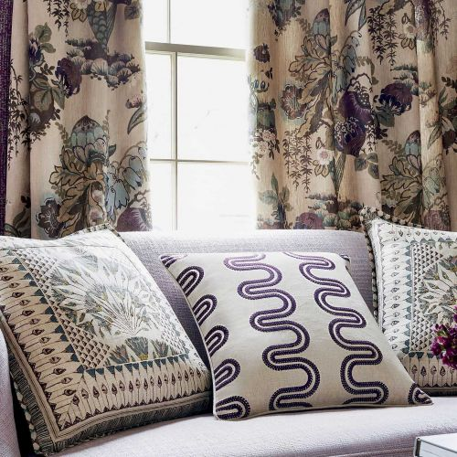 Purple Embroidered Fabric