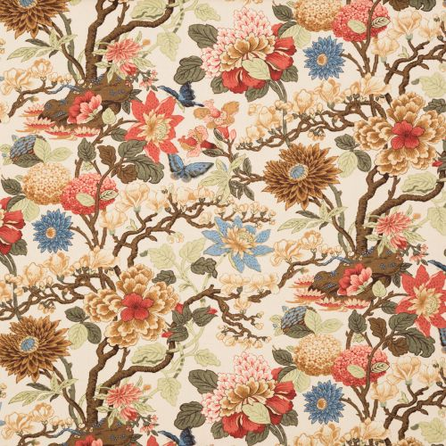 Large Floral Printed Linen