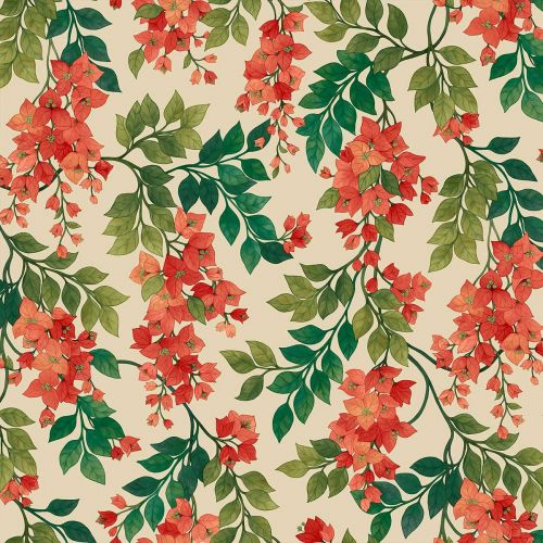 Red and Green Floral Wallpaper