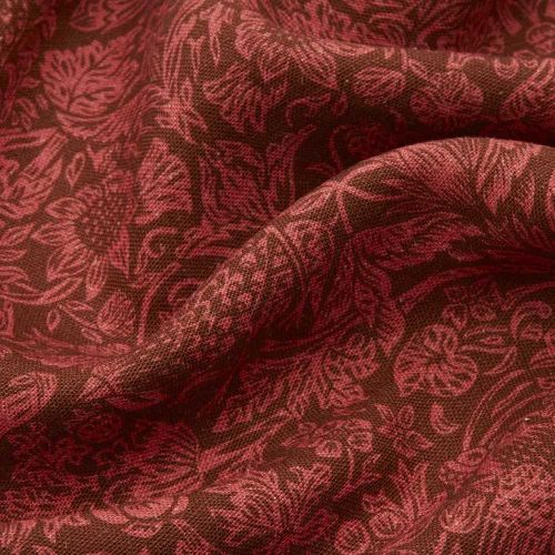 Red Printed Linen Fabric