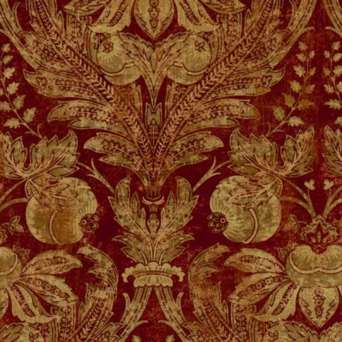 Red Velvet Damask Fabric