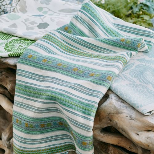 Romany Green and Blue Striped Fabric