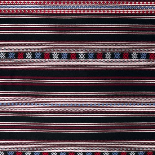 Romany Weave Fabric Wine Red Blue Striped