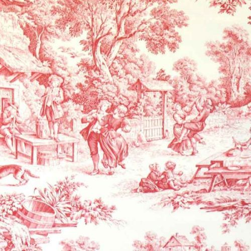 Ronde Villageoise Cotton Fabric Red Toile