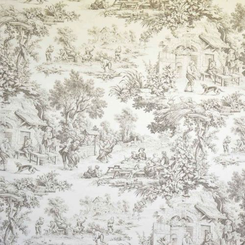 Neutral Grey Toile Upholstery Fabric