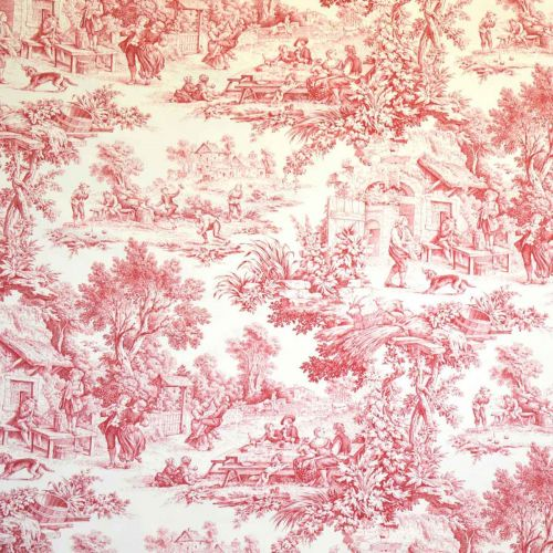 Red Toile Upholstery Fabric