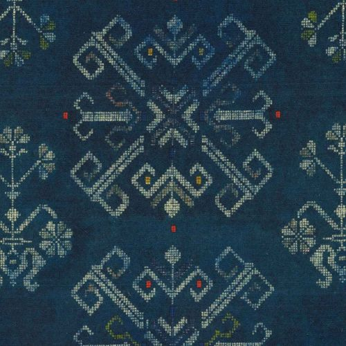Roots Linen Fabric Floral Dark Blue Taupe Red