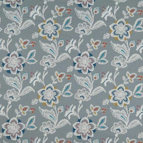 Rosings Embroiderd Fabric blue