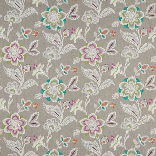 Rosings Embroidered Fabric Grey Floral