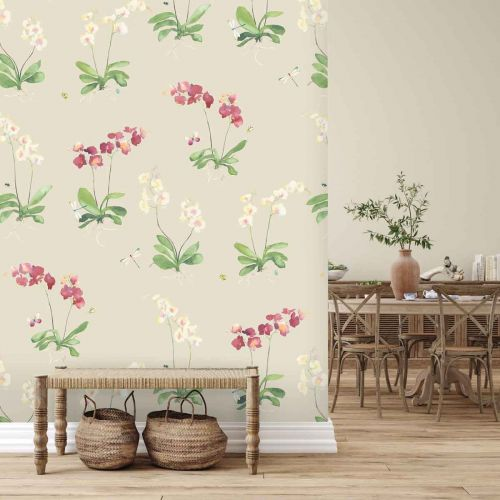 Sadie Pink and Neutral Large Floral Print Wallpaper
