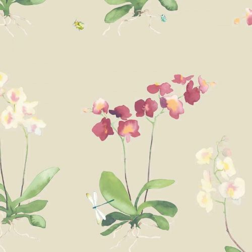 Sadie Wallpaper Neutral Pink Green Floral