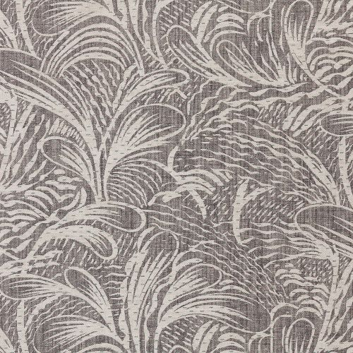 Savernake Dark Grey Leaf Linen Fabric