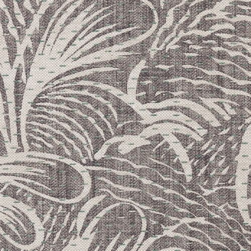 Savernake Linen Fabric Neutral Dark Grey Leaf