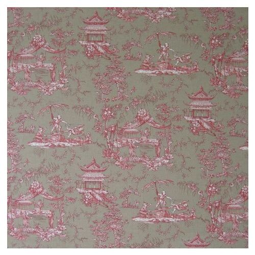 Pink Toile Linen Union Fabric