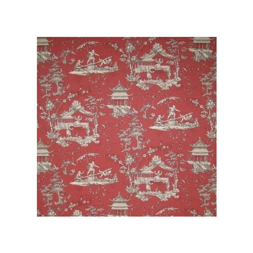 Red Toile Linen Union Fabric