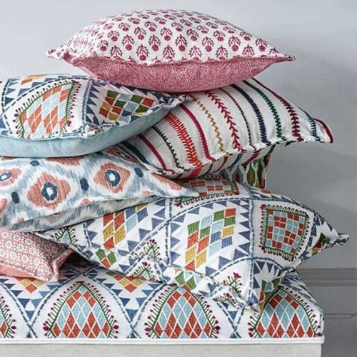 Sintra Multicoloured Embroidered Striped Fabric