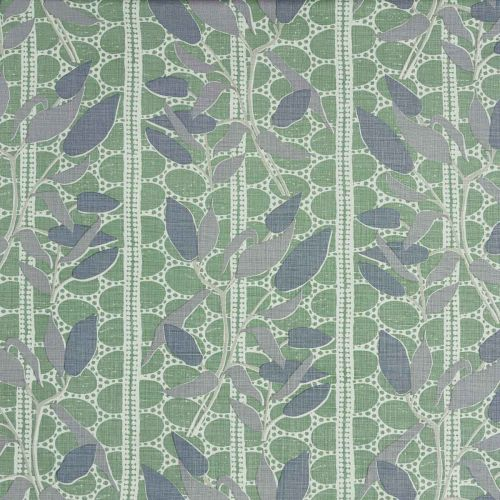 Small Lace Lily Linen Fabric Mink Grey Moss Green Dark Blue