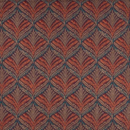 Sotherton Embroidered Fabric Red Teal Orange