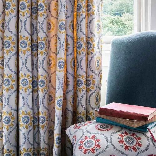 Suzani Yellow and Blue Printed Linen Curtains