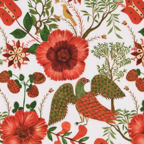 Szekely Folk Linen Fabric Red White Green Floral