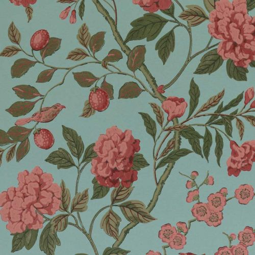 Teal and Pink Floral Wallpaper
