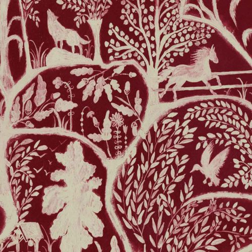 The Enchanted woodland Wallpaper Dark Red