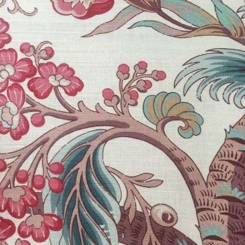 Tree of Life Fabric Pink Oyster Red Blue
