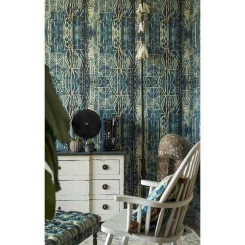 Turquoise and Yellow Wallpaper