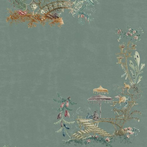 Turquoise Chinoiserie Wallpaper