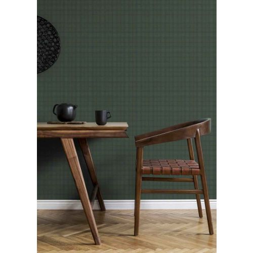Tweed Green and Blue Check Wallpaper