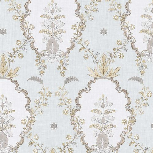 Vallance Grey Floral Trellis Wallpaper