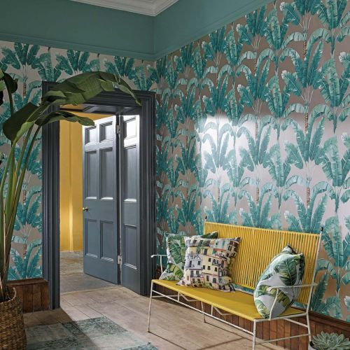 Palmaria Leaf Wallpaper In Silver And Mint