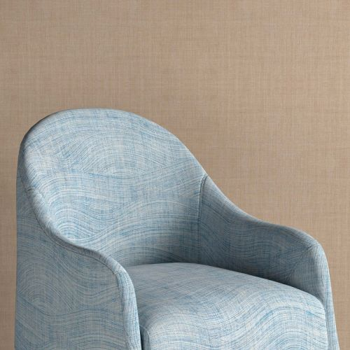 Wave Blue Print Linen Upholstery Fabric