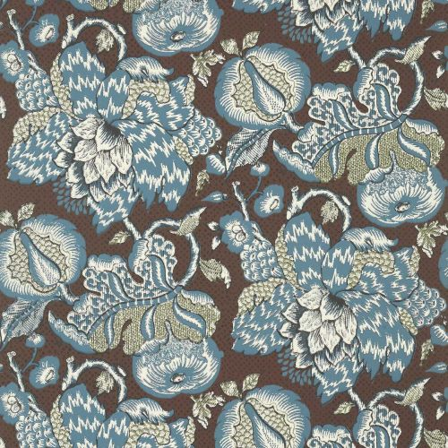 Westmont Wallpaper Brown and Slate Blue Floral