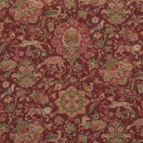 Wild Things Fabric Plum Red Green Floral Printed