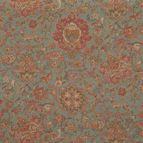 Wild Things Fabric Teal Blue Red Floral Printed