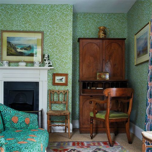 Willow Blue and Green Leaf Wallpaper