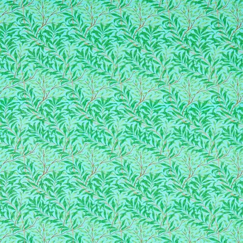 Willow Bough Fabric Sky Blue Leaf Green