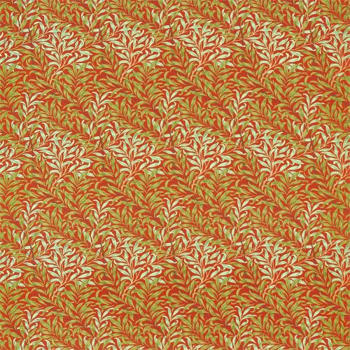Willow Bough Fabric Tomato Red Olive Green
