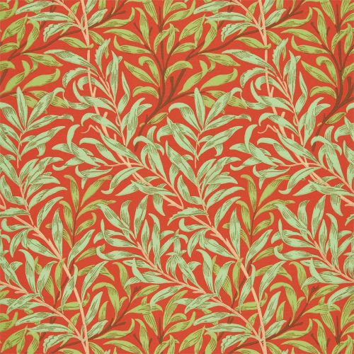 Willow Bough Wallpaper Tomato Red Olive Green