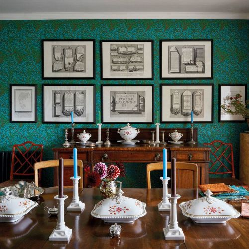 Willow Green and Blue Dining Room Wallpaper