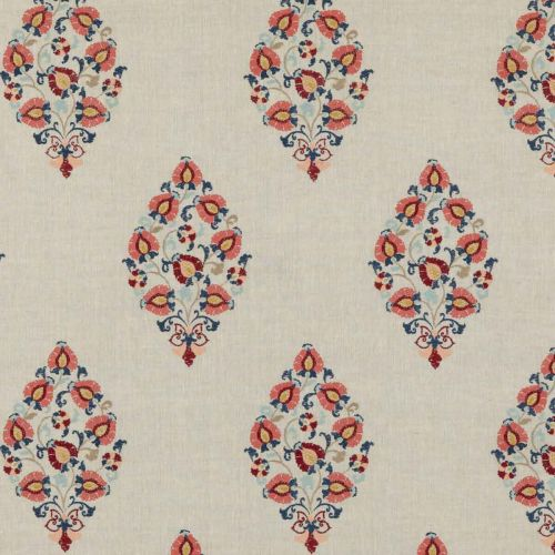 Wooton Embroidered Fabric Red Blue